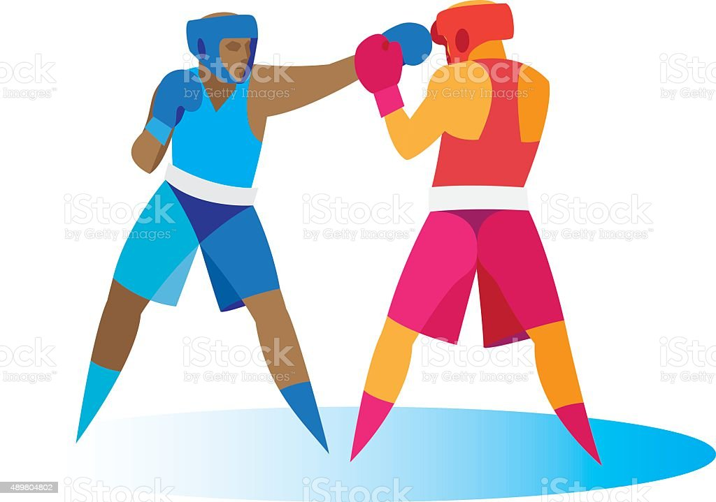 Boxing. Attack vector art illustration