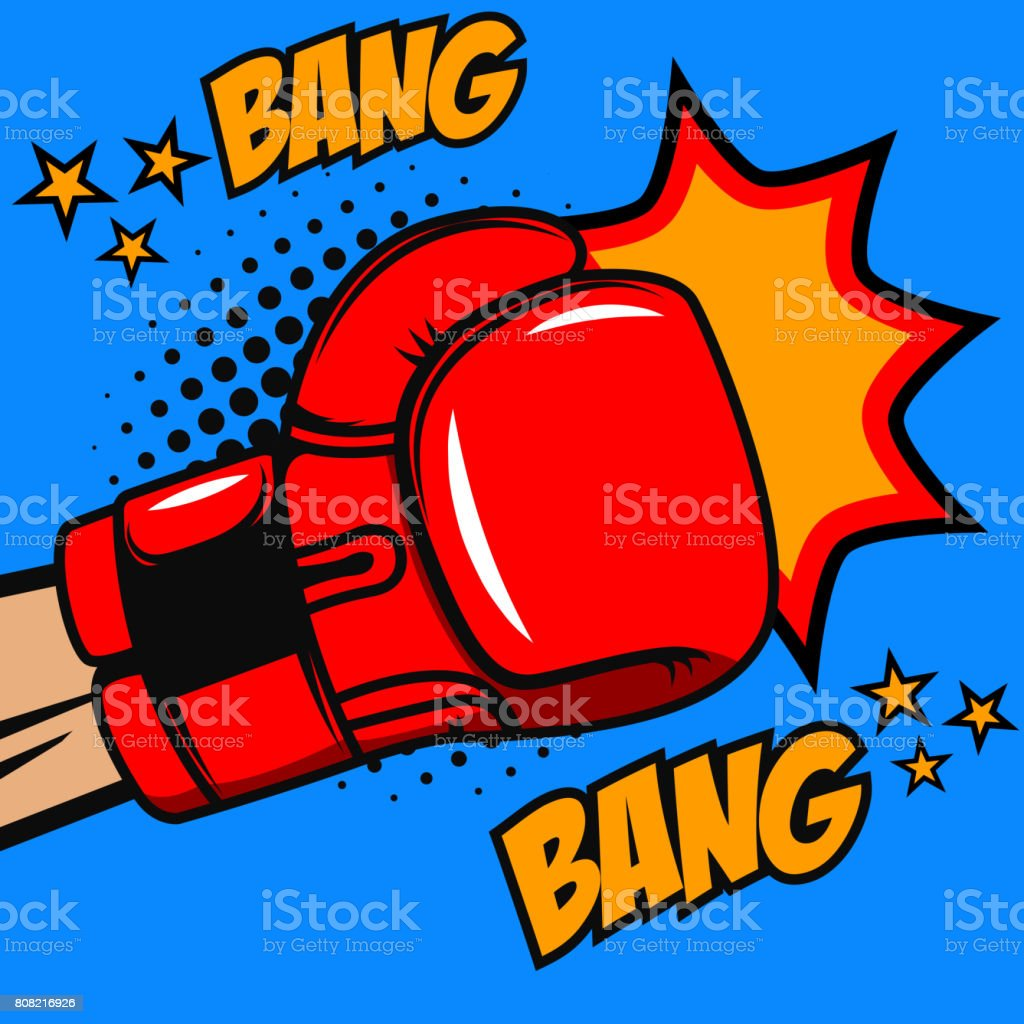 Boxing bang bang. Boxer glove on pop art style background. Vector design element vector art illustration