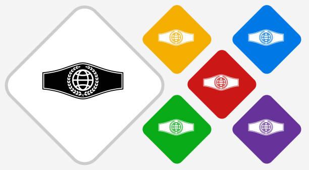 Boxing Belt Color Diamond Vector Icon vector art illustration
