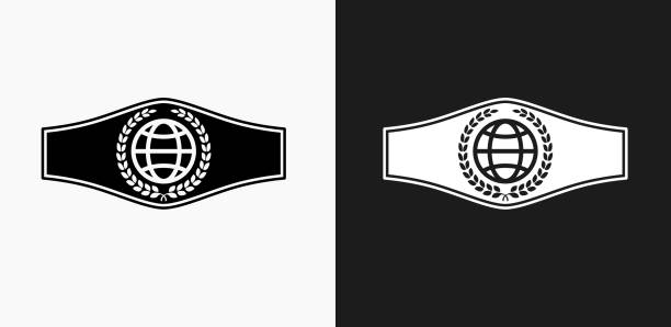 Boxing Belt Icon on Black and White Vector Backgrounds vector art illustration