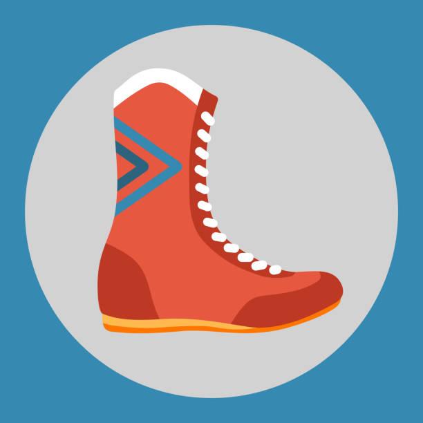 box stiefel symbol. rote box schuhe auf blauem grund. sportgeräte. vektor-illustration. - spitzenkampfstiefel stock-grafiken, -clipart, -cartoons und -symbole