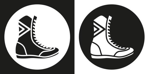 box stiefel symbol. silhouette boxen schuhe auf einem schwarzen und weißen hintergrund. sportgeräte. vektor-illustration. - spitzenkampfstiefel stock-grafiken, -clipart, -cartoons und -symbole