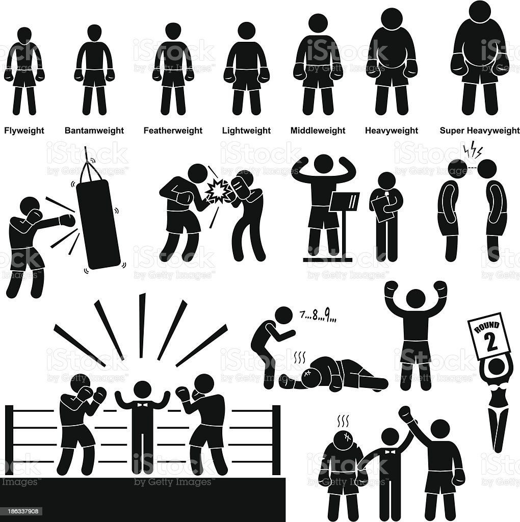 Boxing Boxer Stick Figure Pictogram Icon vector art illustration