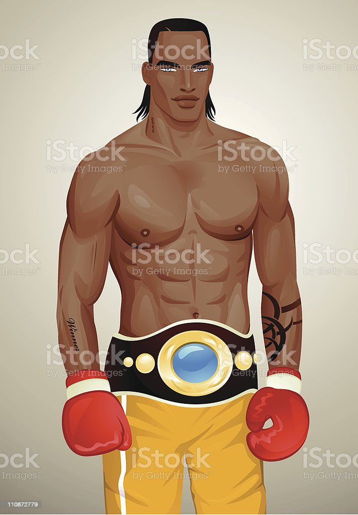 Boxing Champion vector art illustration