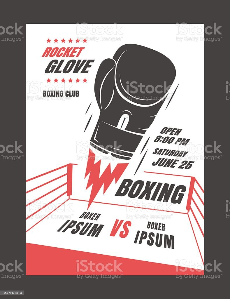 Boxing championship poster vector art illustration