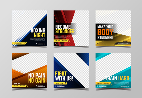 Boxing club and martial art banner. Sport banner for social media post template