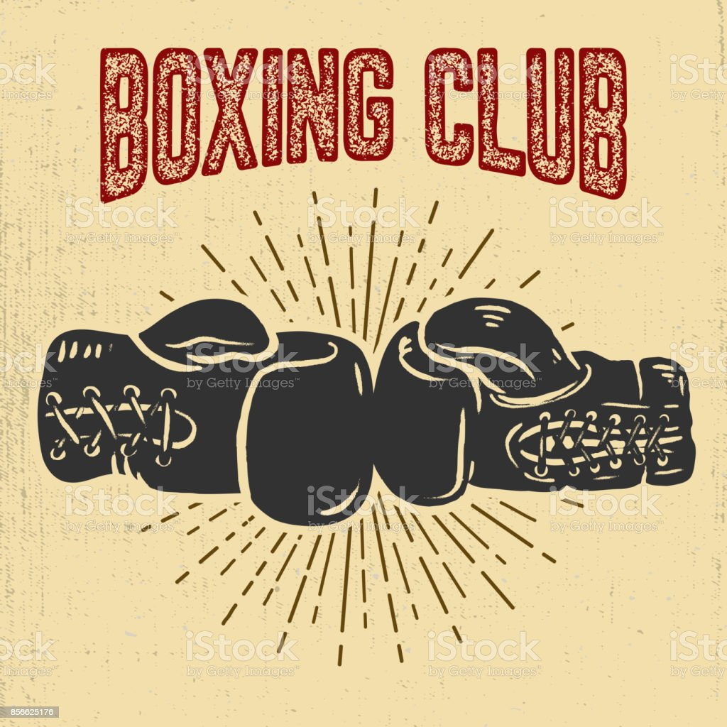 Boxing club. Boxing gloves on grunge background. vector art illustration