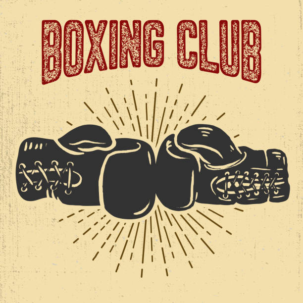 boxing club. boxing gloves on grunge background. - boxing gloves stock illustrations, clip art, cartoons, & icons