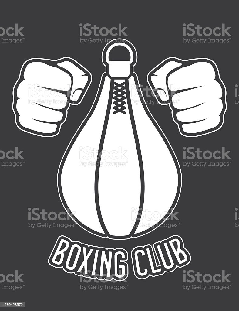 Boxing club emblem - fists and punching bag vector art illustration