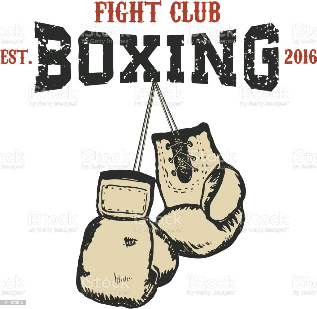 Boxing club emblem vector art illustration