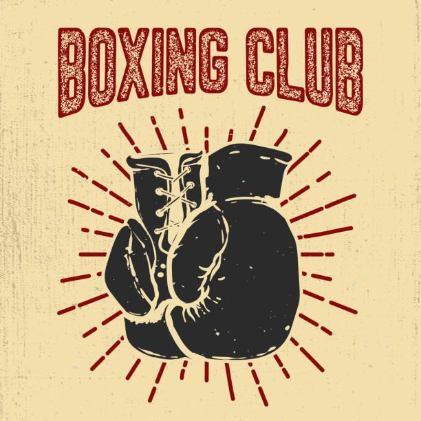 boxclub. handgezeichnete boxhandschuhe auf grunge hintergrund gestaltungselement für poster, emblem, abzeichen. vektor-illustration - posterstile stock-grafiken, -clipart, -cartoons und -symbole