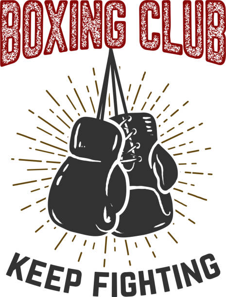 boxing club. keep fighting. boxing gloves on grunge background. - boxing gloves stock illustrations, clip art, cartoons, & icons