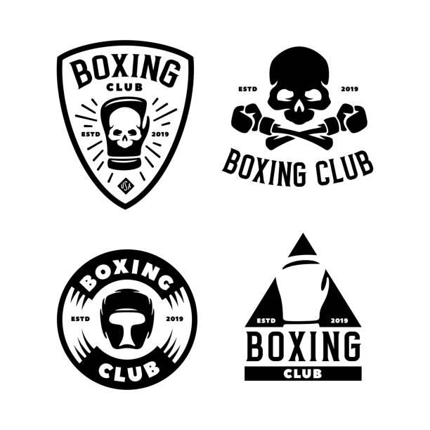 stockillustraties, clipart, cartoons en iconen met boksen club labels instellen. vector vintage illustratie. - mma