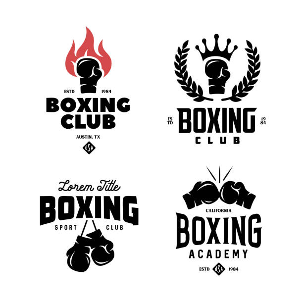stockillustraties, clipart, cartoons en iconen met boksen club labels instellen. vector vintage illustratie. - bokshandschoen