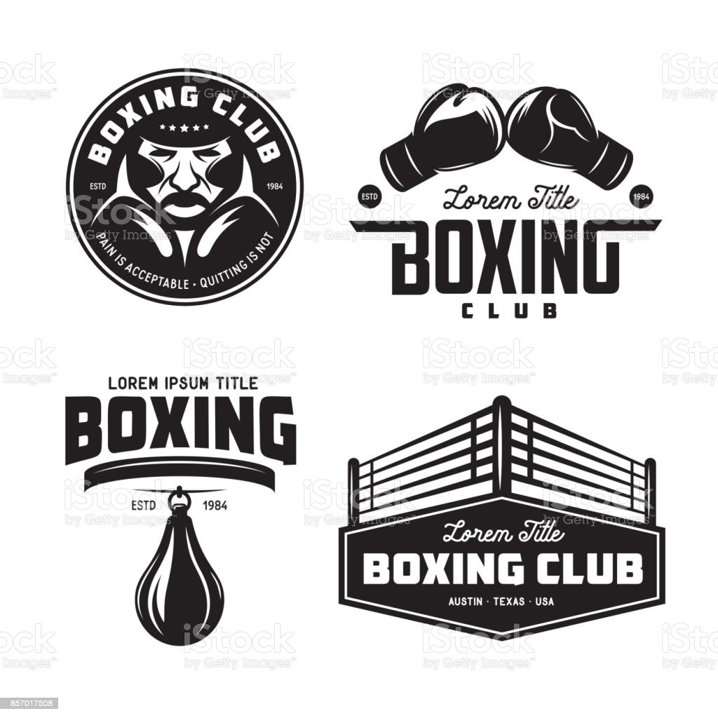 Boxing club labels set. Vector vintage illustration. vector art illustration