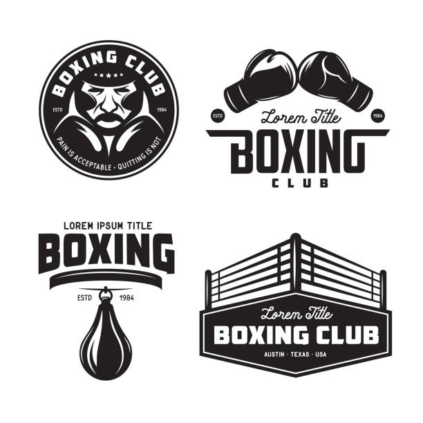 stockillustraties, clipart, cartoons en iconen met boksen club etiketten instellen. vintage vectorillustratie. - punch