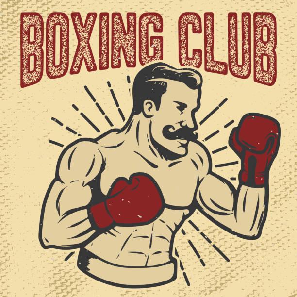 Boxing club. Vintage style boxer on grunge background. Design element for poster, t-shirt, emblem. Vector illustration. vector art illustration