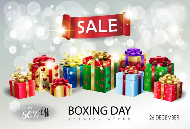 boxing day. geschenk-box stellt. winter holiday sale banner bokeh hellen hintergrund vektor - weihnachtsgeschenk stock-grafiken, -clipart, -cartoons und -symbole