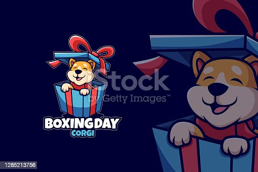 istock Boxing day gift with Corgi Come Out 1285213756