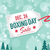 Boxing Day Sale advertisement with label and bokeh background template. Royalty free Vector illustration of a  Boxing day event icon tag with sample text design. Star on face of Boxing Day sale event  price tag. Teal green bokeh background. Fully editable and  easy to edit vector illustration layers. Includes sample text design and shadow below.