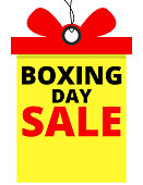 Boxing day sale banner in tag shape