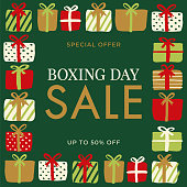 Boxing Day Sale Design for advertising, banners, leaflets and flyers. Stock illustration