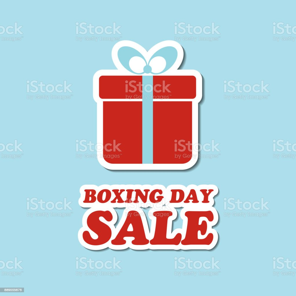Boxing Day Sale Vector Card With Gift Box Sticker Stock Vector Art ...