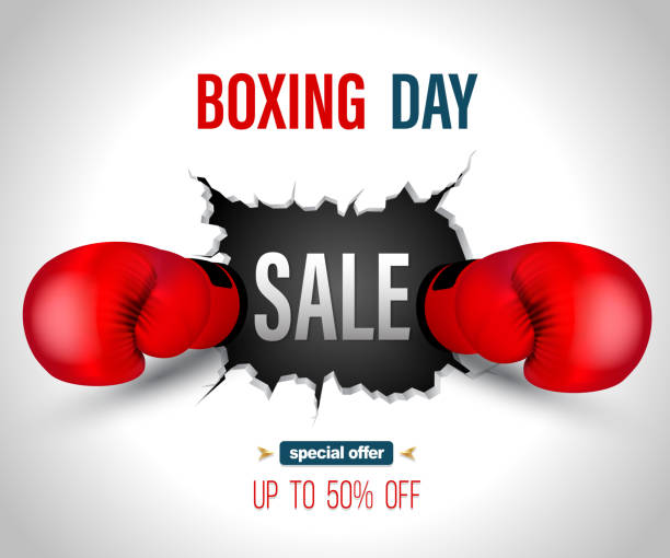 stockillustraties, clipart, cartoons en iconen met boxing day verkoop - knock out