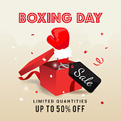 Boxing day Sale vector illustration, Boxing glove coming out of red box with price tag