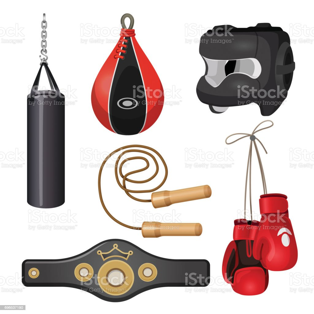 Boxing equipment punchbag on chain, protective headgear mask, leather gloves vector art illustration