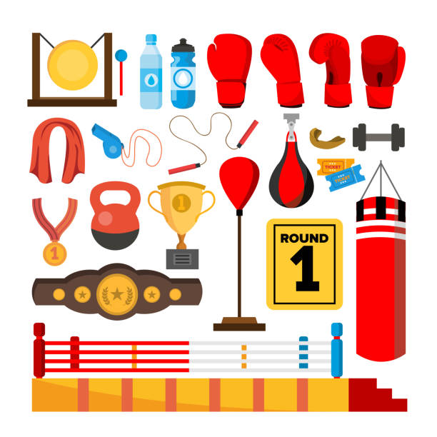 Boxing Equipment Tools Set Vector. Box Accessories. Boxer, Ring, Belt, Punch Bags, Red Gloves, Helmet. Isolated Flat Cartoon Illustration vector art illustration