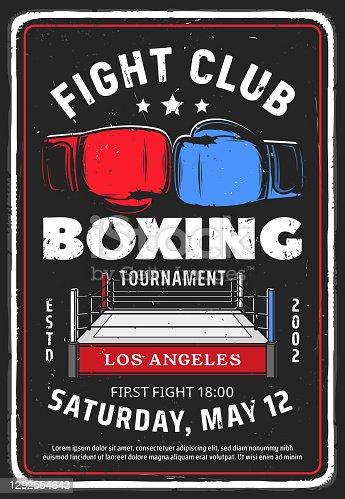 istock Boxing fighting club tournament vector retro flyer 1292554643