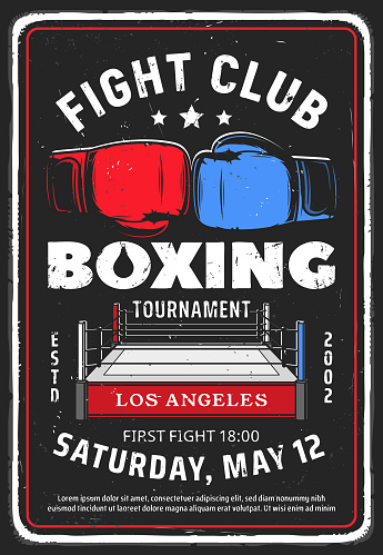 Boxing fighting club tournament vector retro flyer