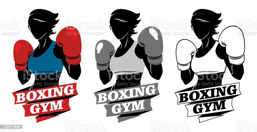 Boksen meisje dport logo - Royalty-free Atleet vectorkunst