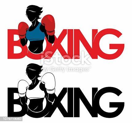 istock Boxing girl dport logo 1079719062
