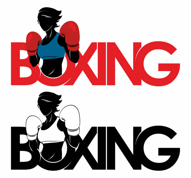illustrazioni stock, clip art, cartoni animati e icone di tendenza di boxing girl dport logo - box name