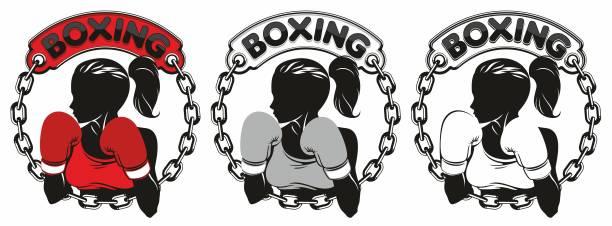 illustrazioni stock, clip art, cartoni animati e icone di tendenza di boxing girl dport logo - box name