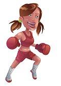 Boxing girl, file format for EPS10.0 fully editable