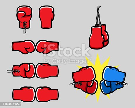 Sport boxing glove cartoon hand vector illustration set.