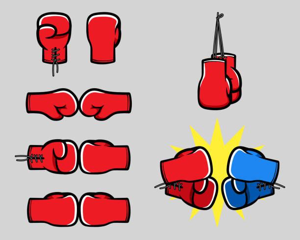 stockillustraties, clipart, cartoons en iconen met bokshandschoen cartoon hand collectie - bokshandschoen