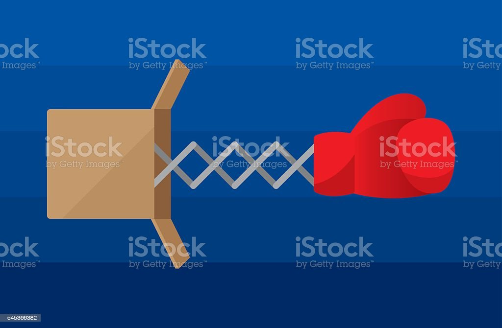 Boxing Glove in Box vector art illustration
