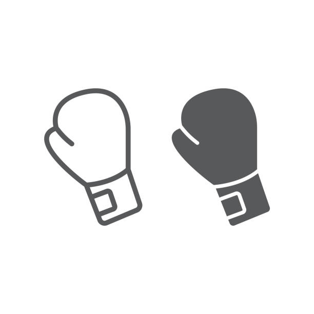 boxing glove line and glyph icon, equipment and sport, glove sign, vector graphics, a linear pattern on a white background, eps 10. - boxing gloves stock illustrations, clip art, cartoons, & icons