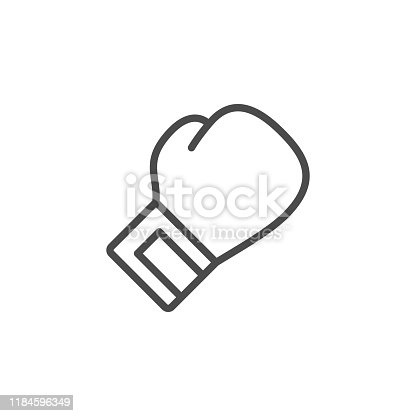 Boxing glove line outline icon isolated on white. Hand sport inventory. Fist punch. Fight on ring. Protection and knockout. Vector illustration