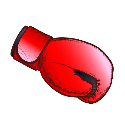 Boxing Glove Sport Cloth Side View Color Vector