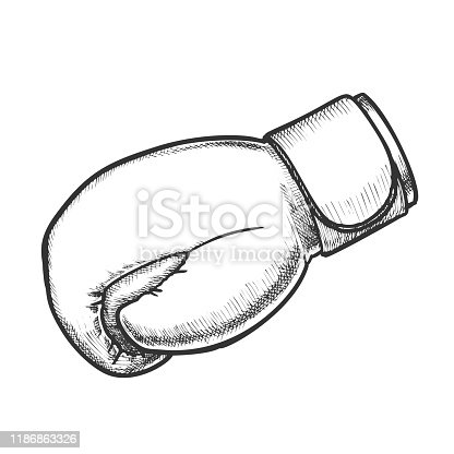 Boxing Glove Sport Cloth Side View Ink Vector