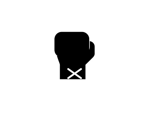 Boxing Glove vector icon. Isolated Boxing Sport Glove, Fight Punch flat symbol