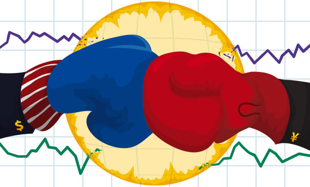 Boxing Gloves and Statistics Clash due Trade War Conflict Gloves with elegant sleeves and cufflinks with money symbols punching each other generating a blast that broke economic statistics during the Trade War conflict between U.S.A. and China. yuan symbol stock illustrations