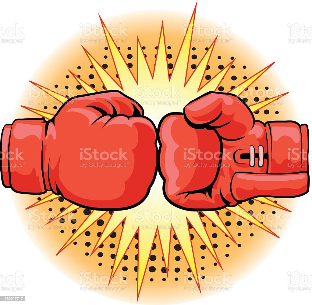 Boxing Gloves Crushing vector art illustration