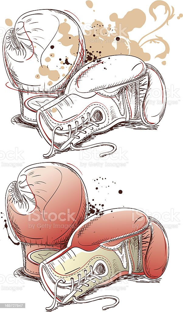 Boxing Gloves Drawing royalty-free stock vector art