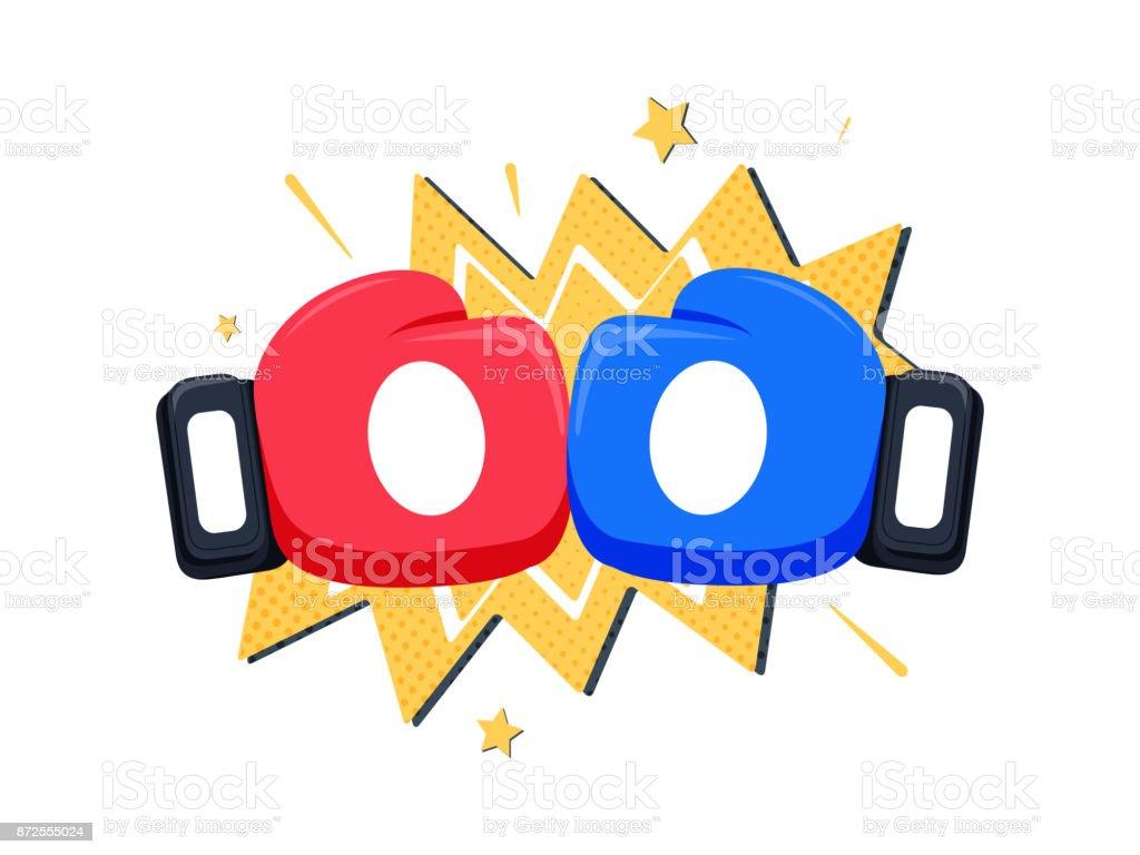 d22821f52f8a Gants de boxe fight icône, bleus rouges vs. Illustration vectorielle de  bataille emblème dessin
